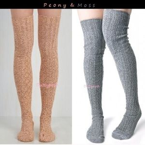 2 Peony & Moss Thigh High Boot Socks Over The Knee